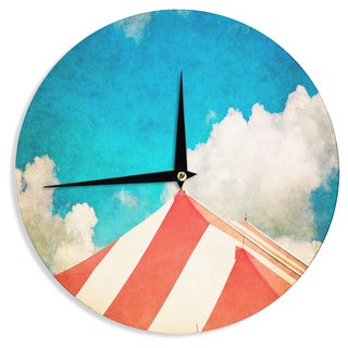 "Kess InHouse Ann Barnes ""The Big Top"" Red Blue Wall Clock 12"""