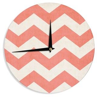 "Kess InHouse Ann Barnes ""Vintage Coral"" Orange Chevron Wall Clock 12"""
