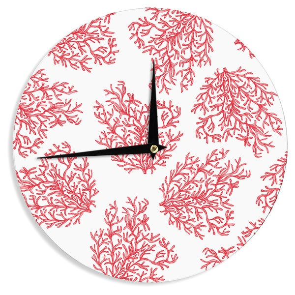 "Kess InHouse Anchobee ""Coral"" Red White Wall Clock 12"""