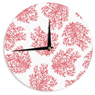 """Kess InHouse Anchobee """"Coral"""" Red White Wall Clock 12"""""""
