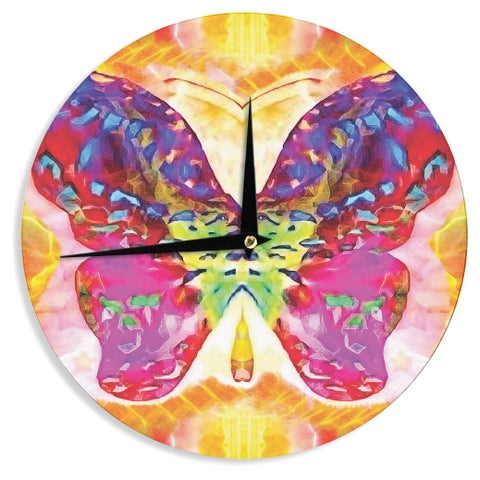"Kess InHouse Anne LaBrie ""Butterfly Spirit"" Pink Yellow Wall Clock 12"""
