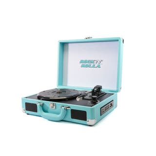 Rock 'N' Rolla Jr Teal Portable Briefcase Vinyl Turntable Record Player|https://ak1.ostkcdn.com/images/products/12897970/P19655392.jpg?impolicy=medium