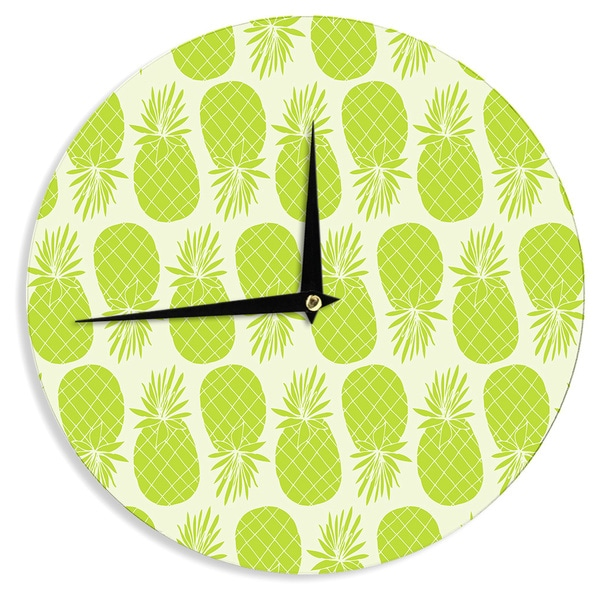 "Kess InHouse Anchobee ""Pinya Lime"" Green Pattern Wall Clock 12"""