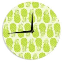 "Kess InHouse Anchobee ""Pinya Lime"" Green Pattern Wall Clock 12"""