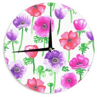 "Kess InHouse Anneline Sophia ""Anemones"" Pink Flowers Wall Clock 12"""
