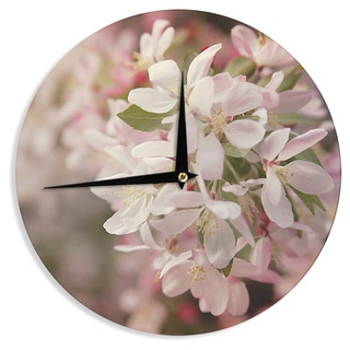 "Kess InHouse Angie Turner ""Apple Blossoms"" Pink Flower Wall Clock 12"""