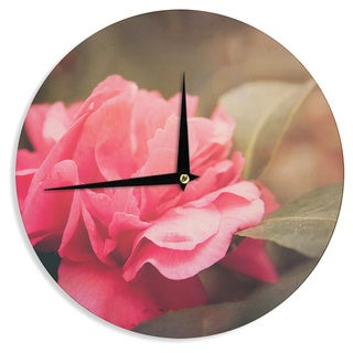 "Kess InHouse Angie Turner ""Camelia"" Pink Flower Wall Clock 12"""