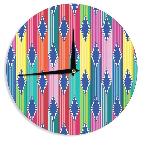 "Kess InHouse Anneline Sophia ""Blanket"" Rainbow Tribal Wall Clock 12"""