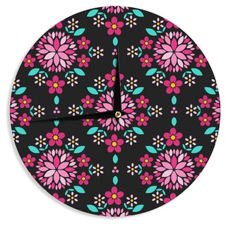 "Kess InHouse Anneline Sophia ""Dahlia Mandala"" Pink Black Wall Clock 12"""