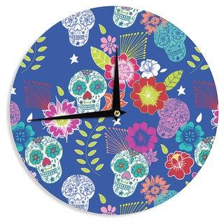 """Kess InHouse Anneline Sophia """"Day of the Dead"""" Blue Aztec Wall Clock 12"""""""