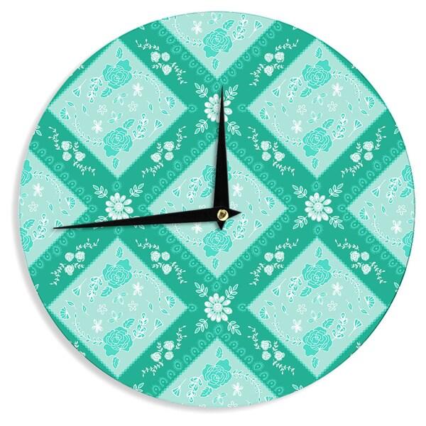 """Kess InHouse Anneline Sophia """"Diamonds Mint"""" Green Seafoam Wall Clock 12"""""""