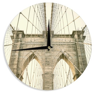 KESS InHouseAnn Barnes 'Brooklyn Bridge Sunset' Gold Photography Wall Clock