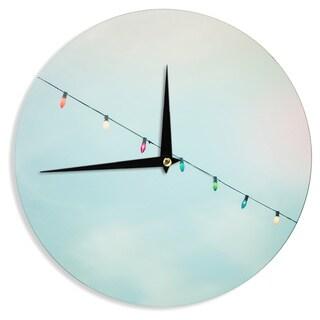 """Kess InHouse Ann Barnes """"Dream A Little Dream"""" Blue Vintage Wall Clock 12"""""""