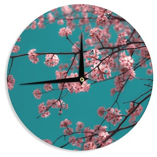 "Kess InHouse Ann Barnes ""Dreaming In Pink"" Blue Pink Wall Clock 12"""