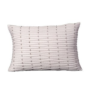 Mina Victory Luminescence Rib With Beads Ivory Throw Pillow (14-inch x 20-inch) by Nourison