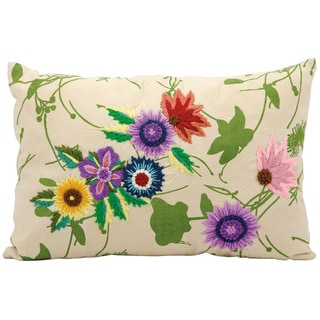 Mina Victory Life Styles Purple Flower Garden Ivory Throw Pillow (10-inch x 16-inch) by Nourison