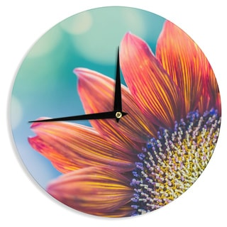 "Kess InHouse Ann Barnes ""Fire & Ice"" Flower Red Teal Bokeh Wall Clock 12"""