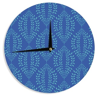"Kess InHouse Anneline Sophia ""Laurel Leaf Blue"" Navy Floral Wall Clock 12"""