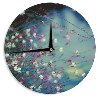 KESS InHouseAnn Barnes 'Monet's Dream' Dark Flower Wall Clock