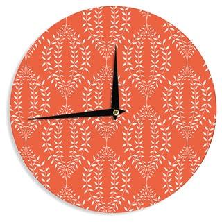 "Kess InHouse Anneline Sophia ""Laurel Leaf Orange"" Red Floral Wall Clock 12"""
