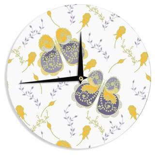 KESS InHouseAnneline Sophia 'Leafy Butterflies Yellow' Purple Butterfly Wall Clock