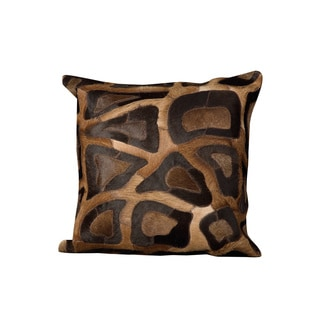 Mina Victory Natural Leather and Hide Cobble Stone Chocolate Throw Pillow (20-inch x 20-inch) by Nourison