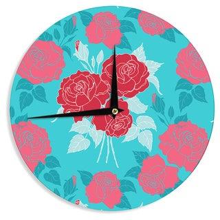 "Kess InHouse Anneline Sophia ""Summer Rose Red"" Blue Aqua Wall Clock 12"""