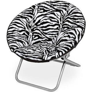 Zebra Faux Fur Saucer Chair
