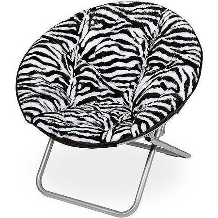 Zebra Faux Fur Saucer Chair