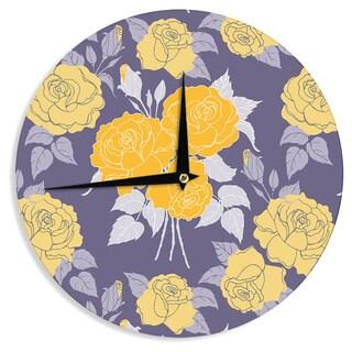 "Kess InHouse Anneline Sophia ""Summer Rose Yellow"" Purple Lavender Wall Clock 12"""
