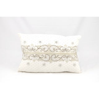Mina Victory Luminescence Diamond Border Ivory Throw Pillow (12-inch x 18-inch) by Nourison