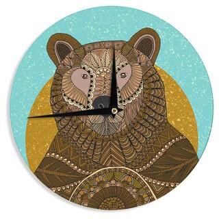 "Kess InHouse Art Love Passion ""Bear in Grass"" Brown Blue Wall Clock 12"""
