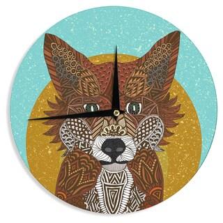 "Kess InHouse Art Love Passion ""Colored Fox"" Blue Orange Wall Clock 12"""