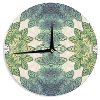 KESS InHouseArt Love Passion 'Forest Leaves' Green Teal Wall Clock