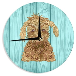 """Kess InHouse Art Love Passion """"Gatsby the Great"""" Brown Dog Wall Clock 12"""""""