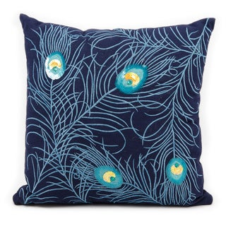 Mina Victory Life Styles Peacock Feather Navy Throw Pillow (18-inch x 18-inch) by Nourison