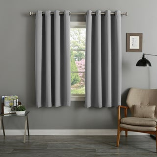 Aurora Home Dove Grey/Biscuit Polyester/Bronze Grommet 54-inch Thermal Insulated Blackout Curtain Panels (Set of 2)