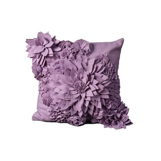 Mina Victory Felt Flower Lavender Throw Pillow (20-inch x 20-inch) by Nourison