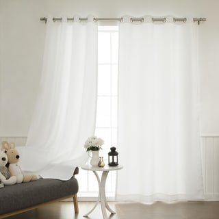 Aurora Home White Grommet-top Privacy Curtain Panel Pair
