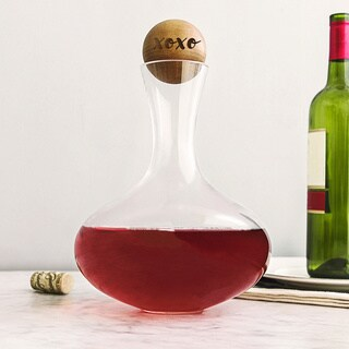 XOXO 67-ounce Glass Wine Decanter with Rubberwood Stopper