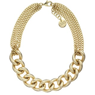 Isla Simone - 18 Karat Gold Electro Plated Glitter Textured Link And Chain Necklace