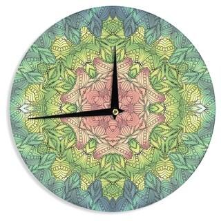 "Kess InHouse Art Love Passion ""Pink Celtic Flower"" Green Pink Wall Clock 12"""