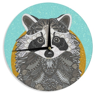 """Kess InHouse Art Love Passion """"Racoon in Grass"""" Gray Teal Wall Clock 12"""""""
