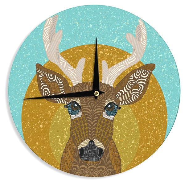 "Kess InHouse Art Love Passion ""Stag in Grass"" Yellow Blue Wall Clock 12"""
