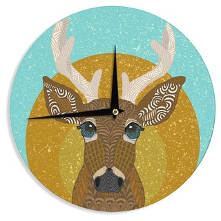 """Kess InHouse Art Love Passion """"Stag in Grass"""" Yellow Blue Wall Clock 12"""""""