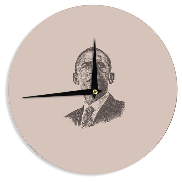 KESS InHouseBarmalisiRTB 'Barack Obama' Brown Gold Wall Clock