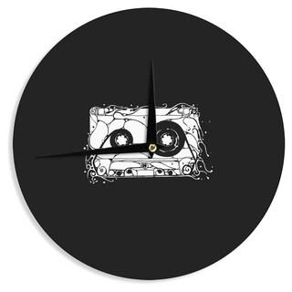 KESS InHouseBarmalisiRTB 'Cassette' Black White Wall Clock