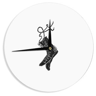 KESS InHouseBarmalisiRTB 'Damaged' Black White Wall Clock