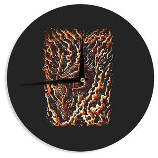 KESS InHouseBarmalisiRTB 'Defense' Black Abstract Wall Clock