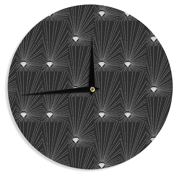 KESS InHouseBarmalisiRTB 'Diamond' Black White Wall Clock